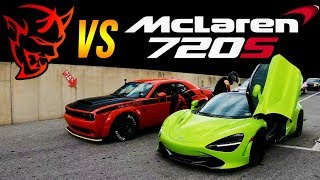 Dodge SRT Demon vs McLaren 720s 1/4 MILE DRAG RACE | Demonology vs StreetSpeed717