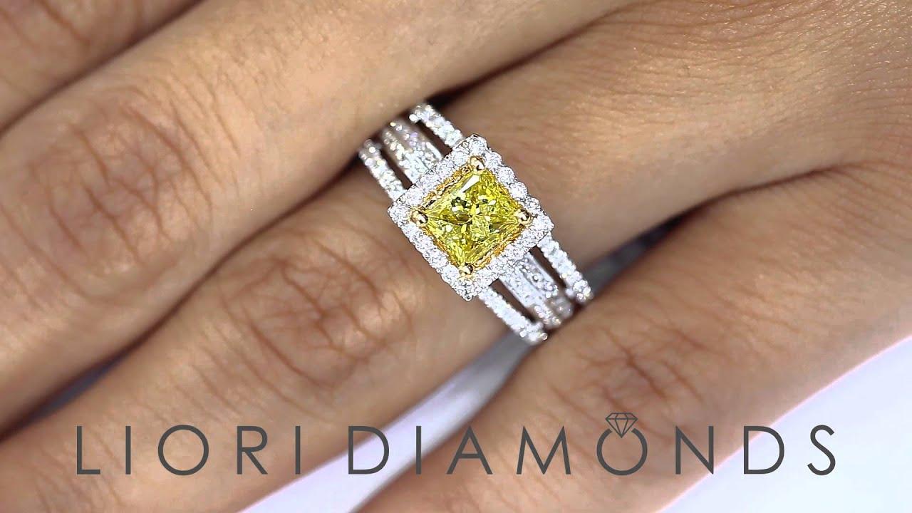 FD 179 1 36 Carat Fancy Yellow Princess Cut Diamond Engagement