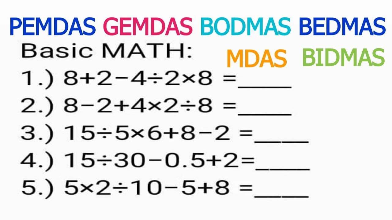 Many Failed to answer this Basic Math   MDAS PEMDAS GEMDAS BODMAS BIDMAS  BEDMAS Order of Operations - YouTube [ 720 x 1280 Pixel ]