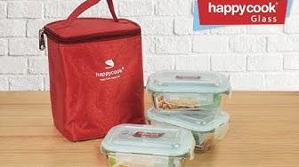 Trên tay bộ 3 hộp đựng cơm thủy tinh và túi giữ nhiệt HappyCook cho dân văn phòng