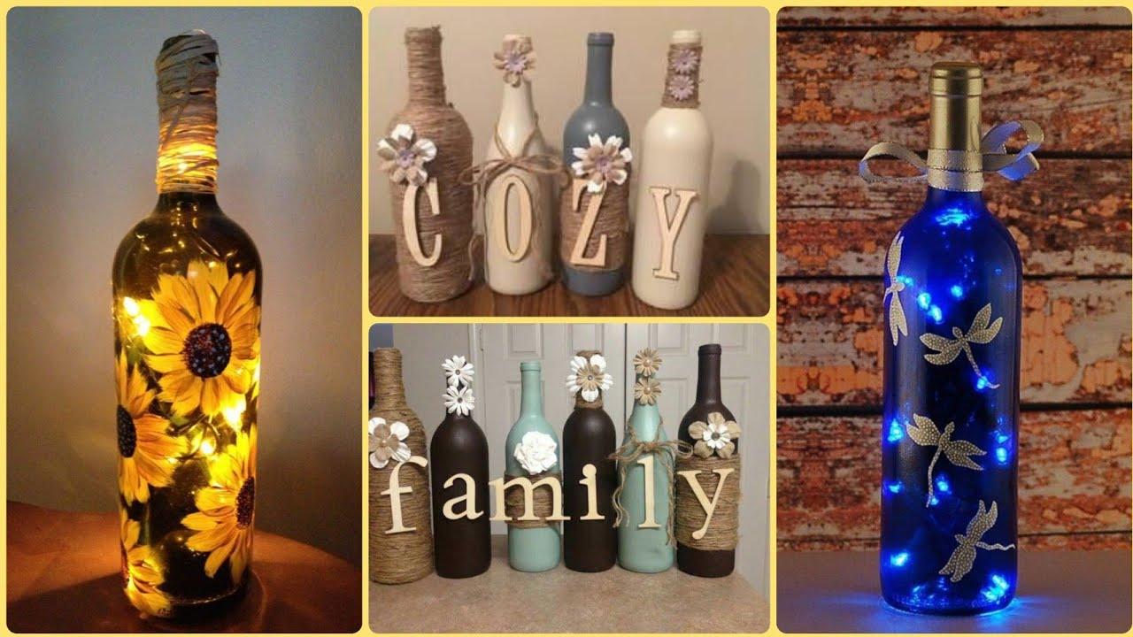 Diy Wine Bottle Craft Ideas || Wine Bottles For Home Decor ...