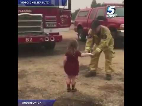 KOCO Digital Originals: Little Girl Hands Burritos to Firefighters Battling Carr Fire