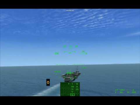 FSX Carrier Landing, Sludge Hornet - First Pass, high Ball, 3 Wire