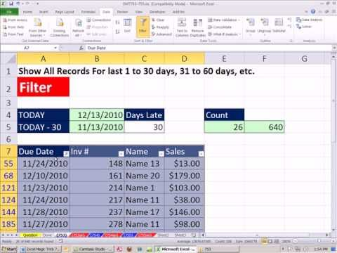 Excel Magic Trick 753: Extract Records For Invoices 30 Days Past Due -- Filter Method