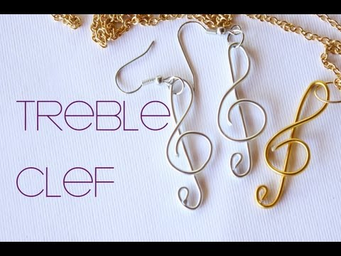 Treble Clef - Music Note Wire Pendant (Gold & Silver) Charm Jewelry (Jewellery)