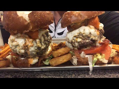 Bacon buffalo chicken blue cheese burger mukbang
