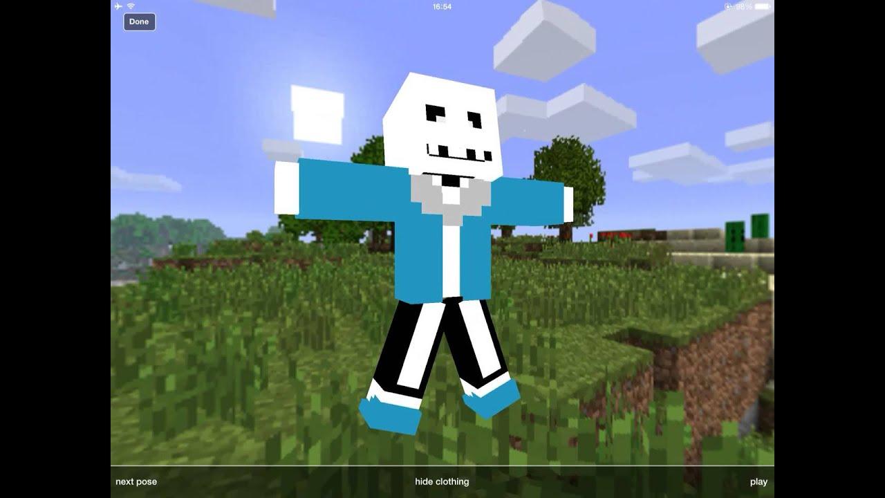 Minecraft Sans Skin Presentation YouTube - Skin para minecraft pe de sans