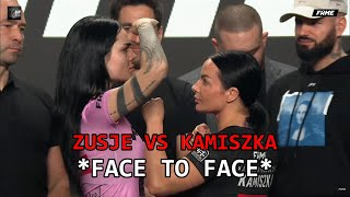 ZUSJE VS KAMILA WYBRAŃCZYK OFFICIAL WEIGHING AND FACE TO FACE! | FAME MMA 9