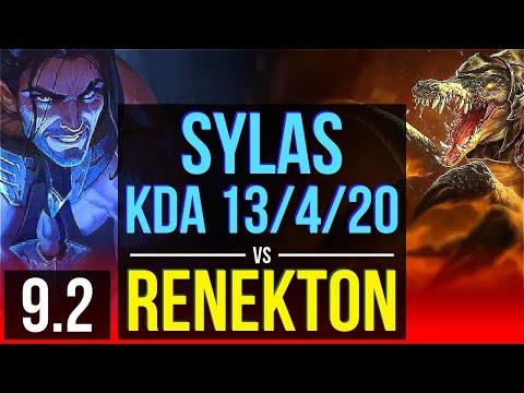 SYLAS vs RENEKTON (TOP) | 2 early solo kills, KDA 13/4/20, Dominating | Korea Diamond | v9.2
