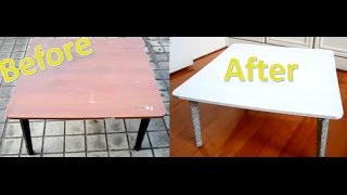 Diy: 老舊合式桌翻新/上漆+亮粉 Coffee Table Makeover | Painting + Glitter