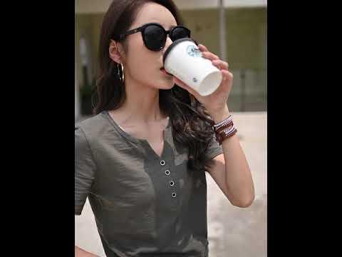 여름 신상 박시 빅 사이즈 순면 반팔 티 여자 단추 브이넥 반팔 티셔츠 상의HHUU5748