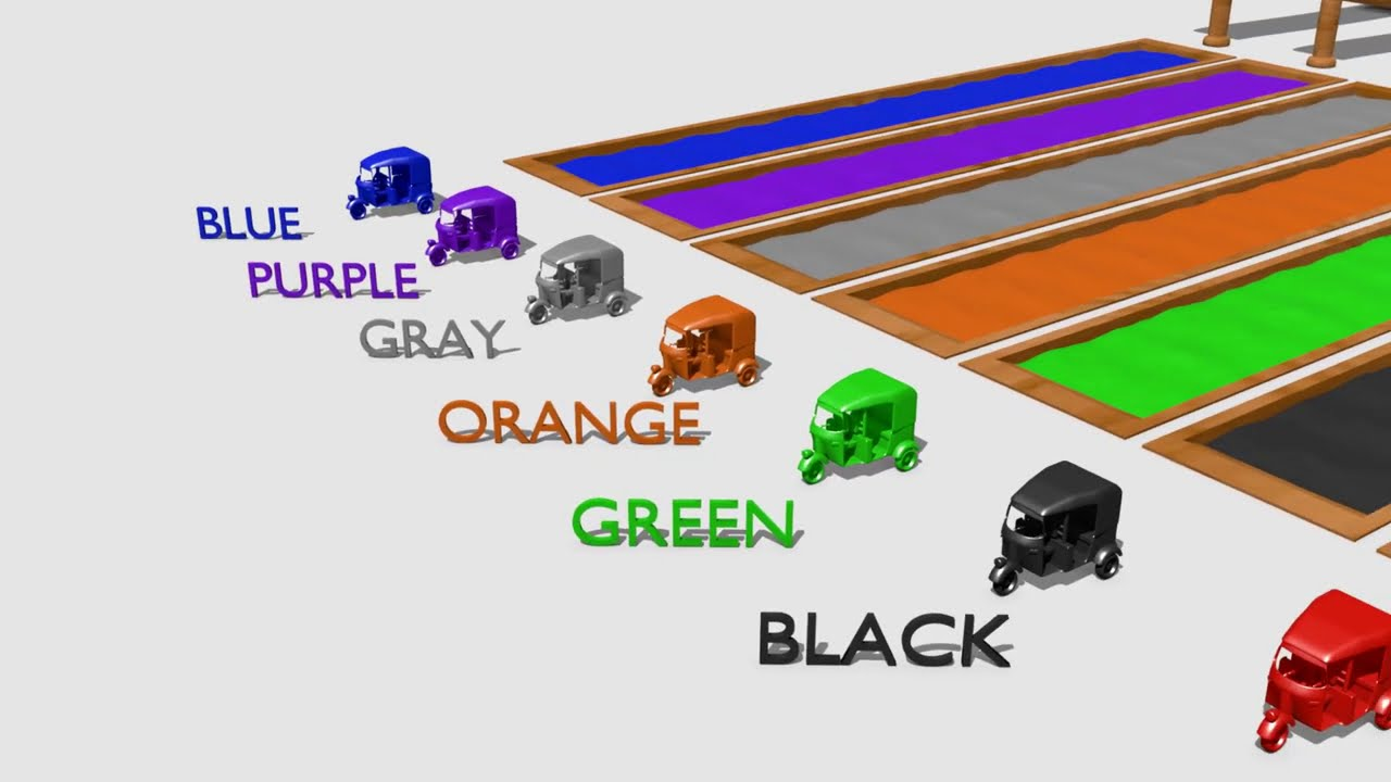 ☻Learn colors with rickshaw / tuk tuk and Ramps - Wooden Toys