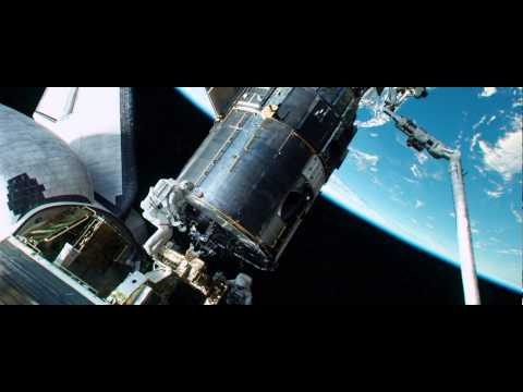 Gravity continuous shot. Opening Scene. Space debris hits Explorer