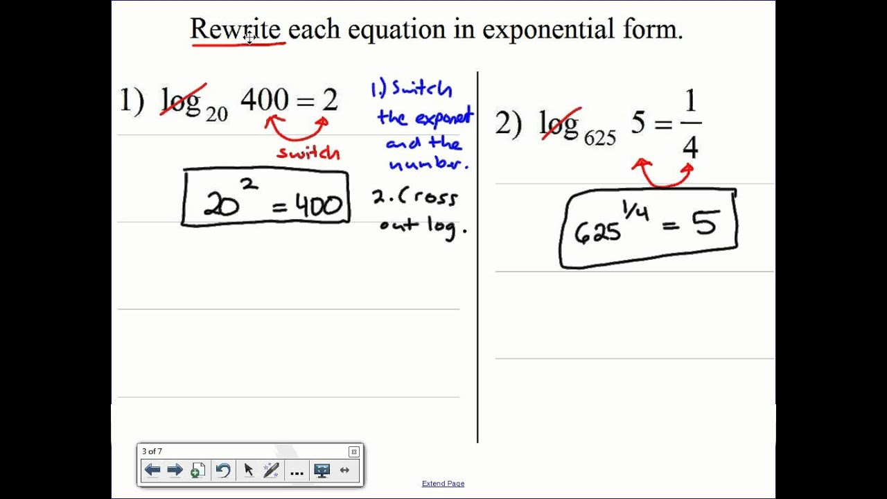 November21 Algebra 2 Logarithmic and Exponential Form - YouTube