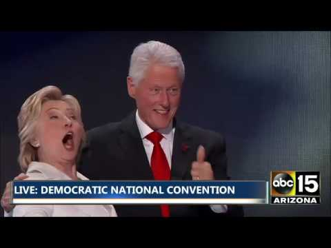 BALLOONS! Tim Kaine & Bill Clinton join Hillary Clinton on stage - Democratic National Convention