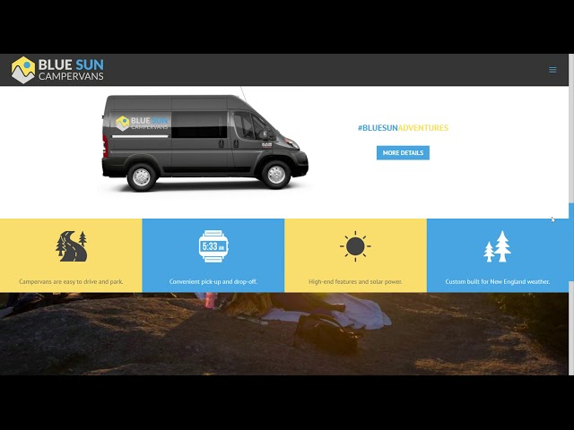Blue Sun Campervans Web Design walk-thru (Divi 4 theme on WordPress)