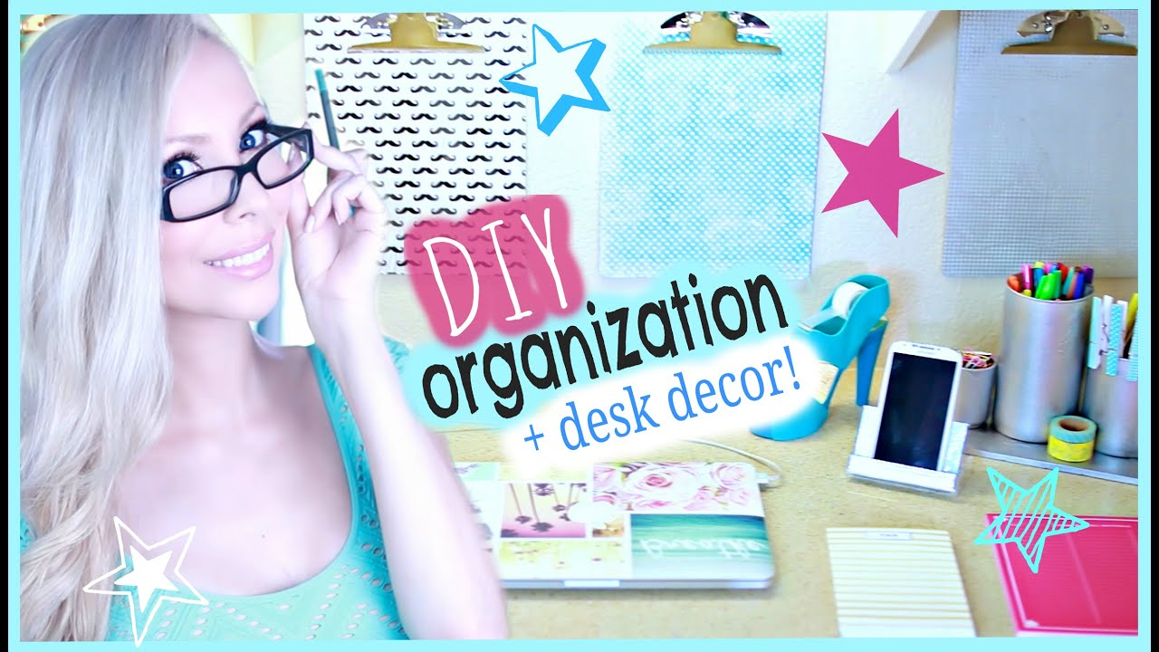 diy organization desk decor ideas youtube. Black Bedroom Furniture Sets. Home Design Ideas
