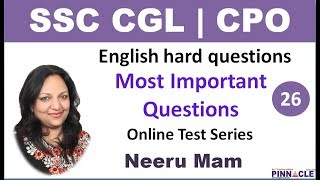 9:00 PM SSC CGL Tier 1 Hard questions online test series I 25 Tests I English section