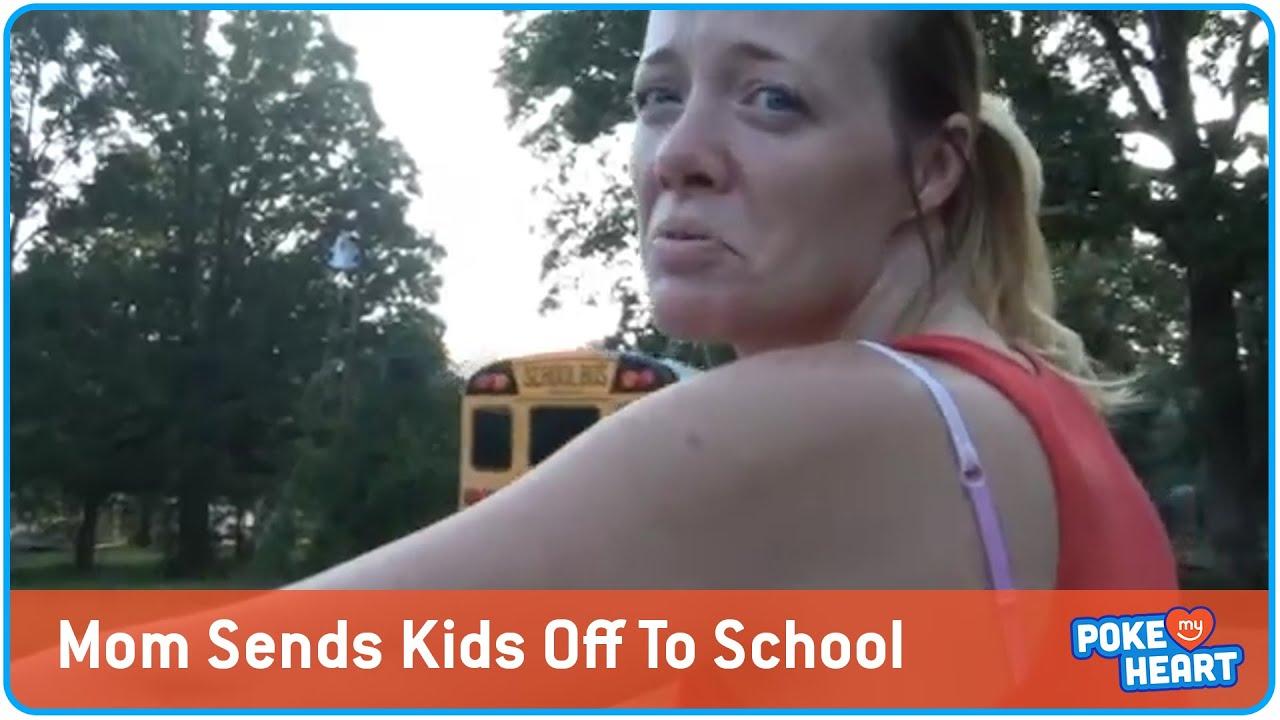 Mom Sending Kids Off On First Day School