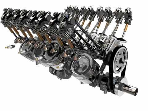 W24 Engine Bugatti V8 Engine Animation v ...