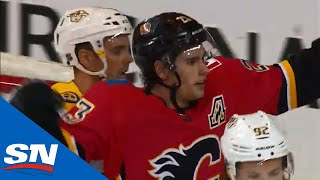 Sean Monahan Picks Up Loose Puck And Goes Backhand On Saros