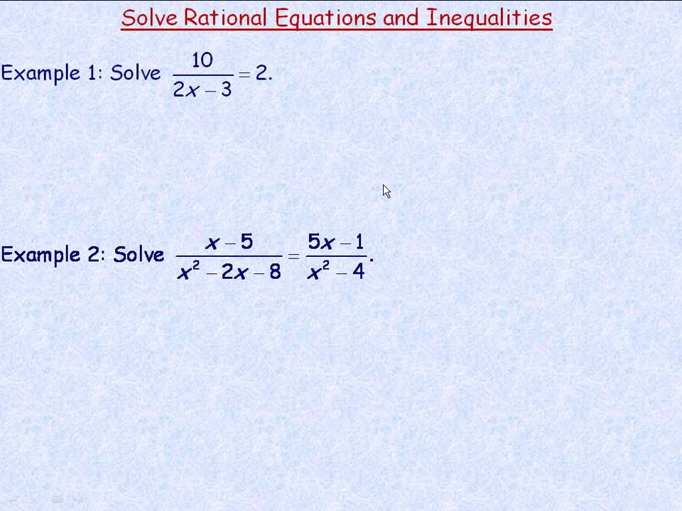 Rational Equations?