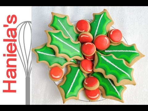 Christmas Holly Cookie Centerpiece Tutorial, Christmas Cookie Decorating
