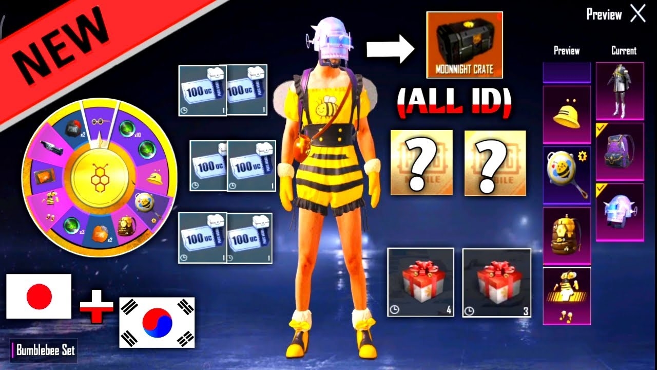 NEW OPENING CRATE !!! SPENT CRATE WITH MY ALL ID   JAPAN SERVER & KOREA SERVER   PUBG MOBILE KOREA