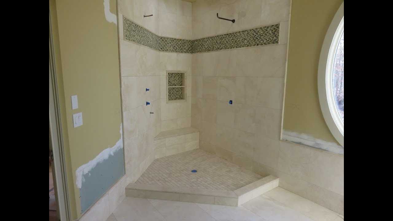 Part 5 how to install travertine tiles on shower walls curb tile installation youtube Install tile shower