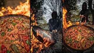 BEST GIANT PAELLA 🥘 - ASMR COOKING AT ABANDONED FACTORY 🏭