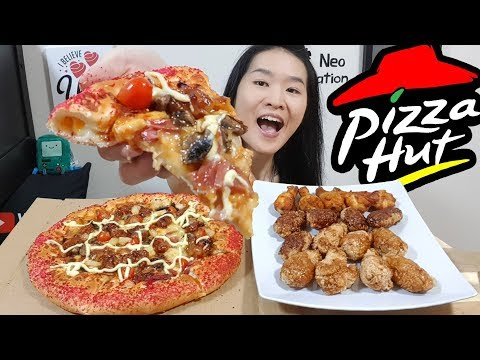 PIZZA HUT & WINGSTREET!! Creamy Yakitori Pizza & Hot N' Spicy Chicken Wings | Eating Show Mukbang