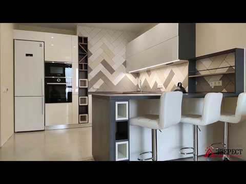 Дизайн проект кухни МК Эверест в Минске. Угловая кухня МДФ крашеный