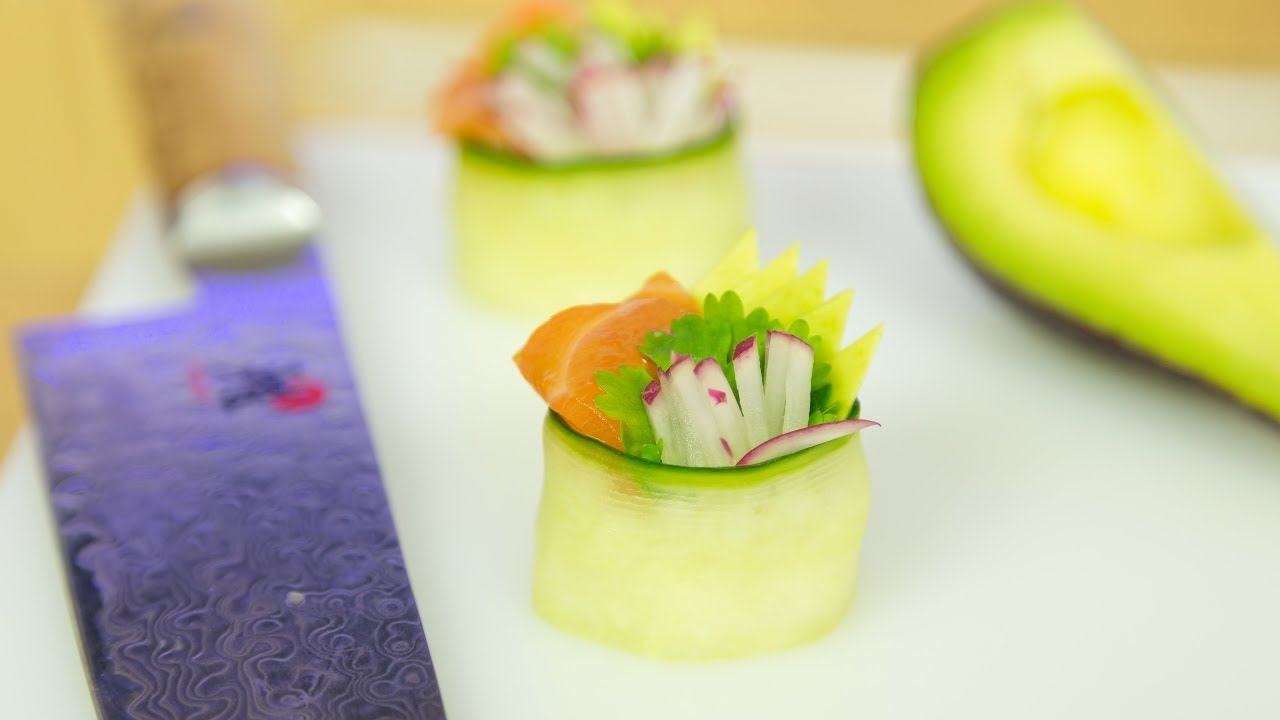 cucumber salmon sushi canap recipe youtube. Black Bedroom Furniture Sets. Home Design Ideas