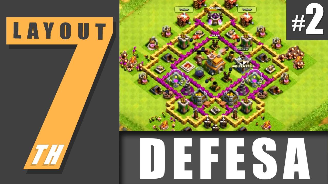 layout cv 7 defesa 2 town hall level 7 defense 2 clash of