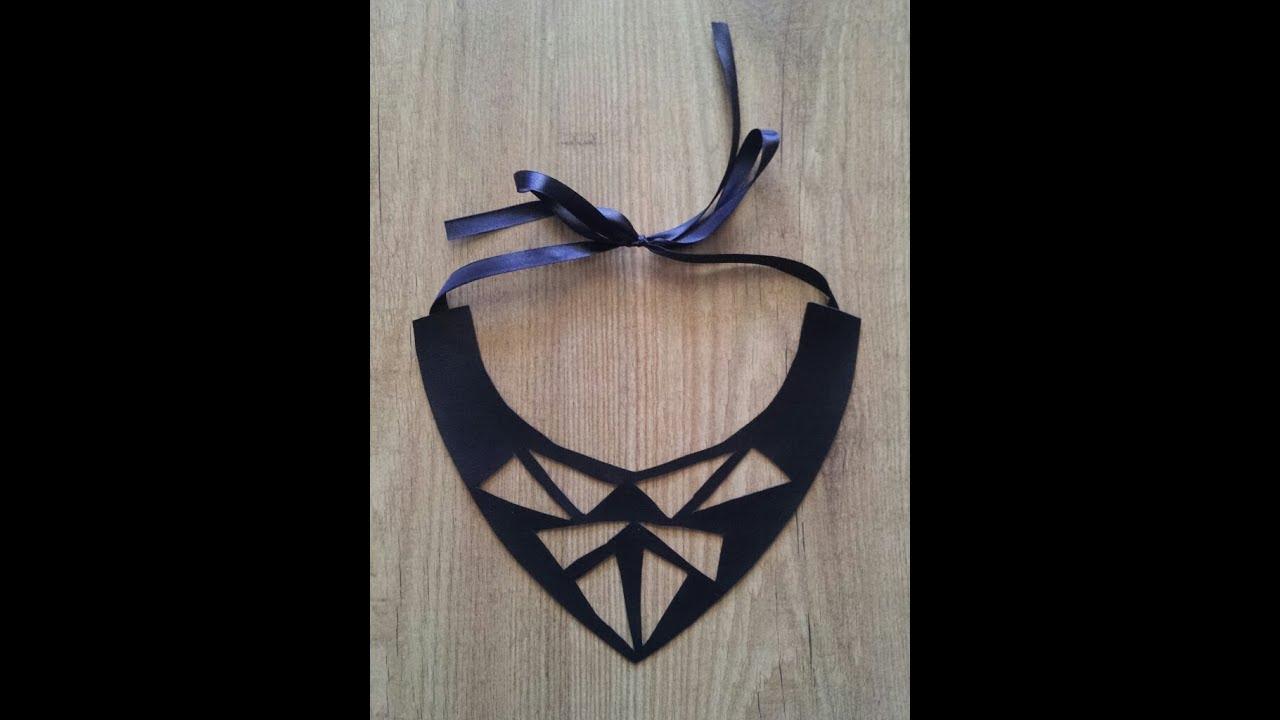 Collar babero de cuero con formas geom tricas diy youtube - Collares de cuero ...