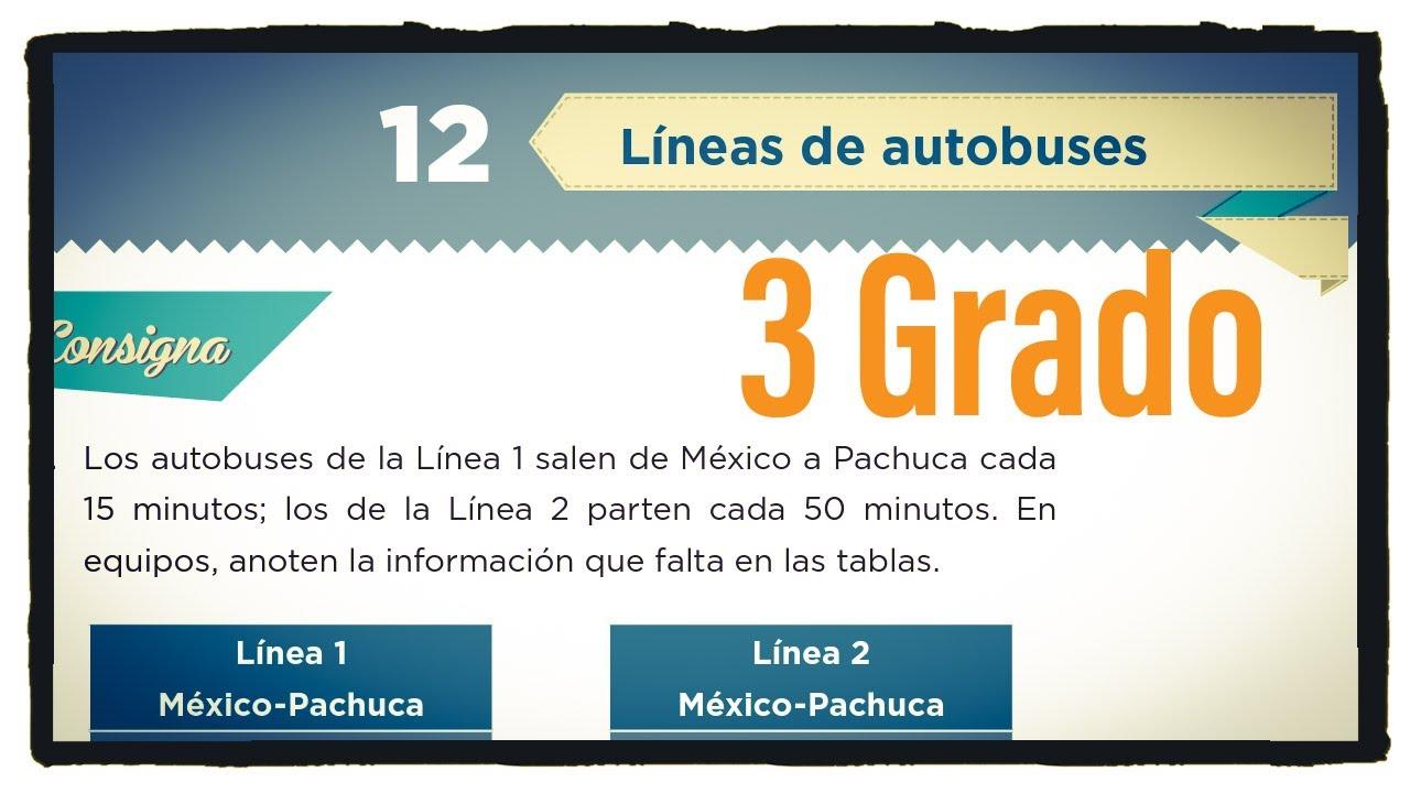 Desafío 12 Tercer grado Líneas de autobuses páginas 29 y 30 del libro de matemáticas de 3 grado