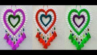 Plastic Spoon Craft ideas Heart wall hanging Toran !! Woolen Heart Wall Hanging Craft !! Heart idea