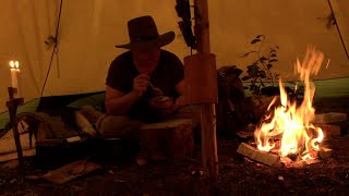 BUSHCRAFT - TIPI BASE CAMP - Open fire Cooking, Fork Carving, Mushroom Foraging, Wilderness Painting