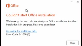 Fix - Couldn't Start Office Installation - Another installation is in progress