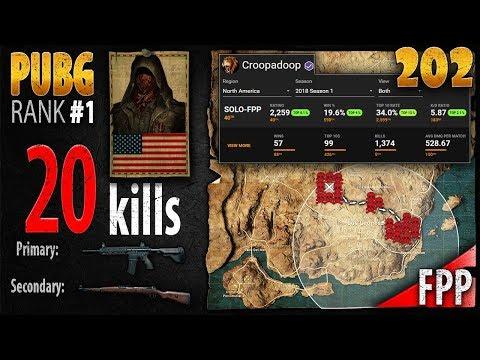 PUBG Rank 1 - Croopadoop 20 kills [NA] SOLO FPP - PLAYERUNKNOWN'S BATTLEGROUNDS #202