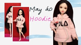 Hướng dẫn may áo Hoodie cho búp bê | DIY HOW TO MAKE Doll Hoodie Sweatshirt