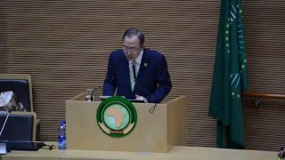 Ban Ki-moon (UN Secretary-General) at the 26th African Union Summit (Addis Ababa, 30 January 2016)
