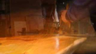 This Video Previously Contained A Copyrighted Audio Track. Due To A Claim By A Copyright Holder, The Audio Track Has Been Muted.     Part 6: Greg's Giant Slabs.  Actor/artist Mark Owen Applies The First Coat Of Spar Varathane.