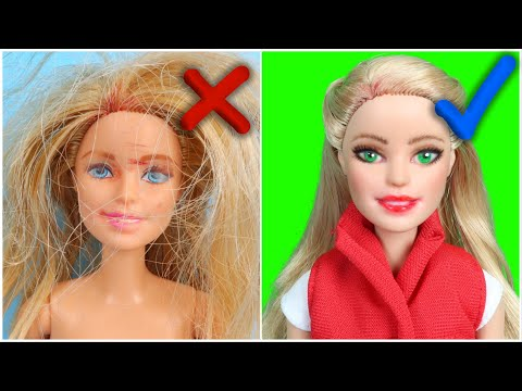 DIY CUSTOM Barbie FACE MAKEOVER and HAIRSTYLE Transformation ~ Repaint Your Old Doll Makeup