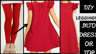 Convert/Recycle/Reuse Old Leggings into Ruffle Sleeve Dress Only in 5 minutes/old leggings reuse 