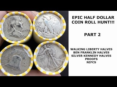 Coin Roll Hunting $390 in Half Dollars- Franklins and Silver Kennedy Halves!!!