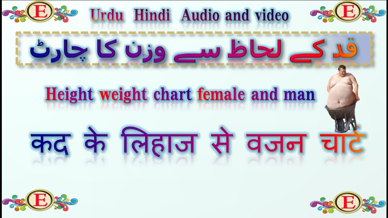 Height And Weight Chart For Men And Female In Urdu Hindi Video