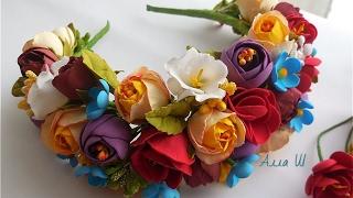 МК Венок-ободок с мелких цветов из фоамирана.