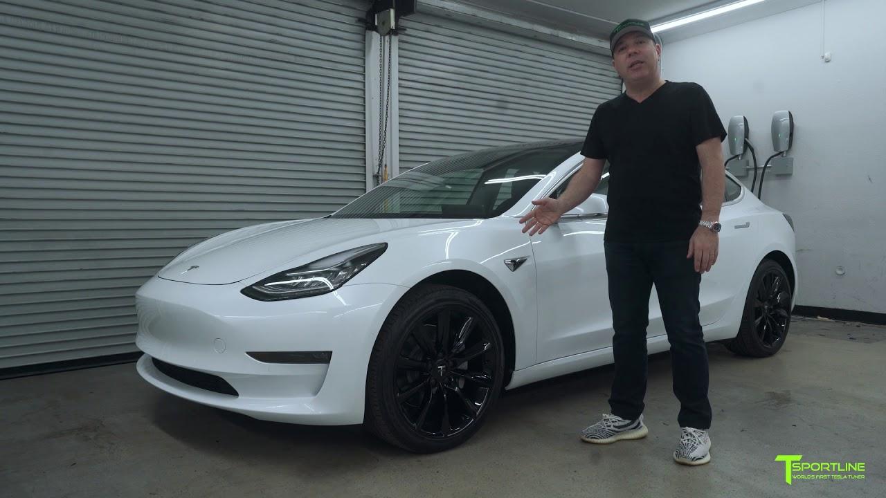 "Pearl White Tesla Model 3 and a set of Gloss Black 19"" TST ..."