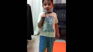 Five year old Hayden singing Never Say Never (Instrumental & on the Mic) Take 2